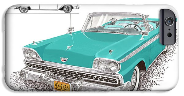 Mechanism Paintings iPhone Cases - 1959 Ford 500 Fairlane Retractable Hard Top iPhone Case by Jack Pumphrey