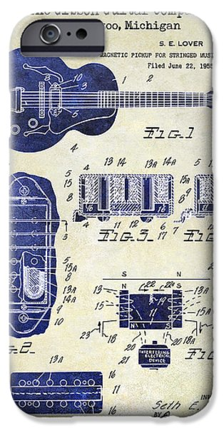 `les iPhone Cases - 1959 Gibson Guitar Patent Drawing 2 Tone iPhone Case by Jon Neidert