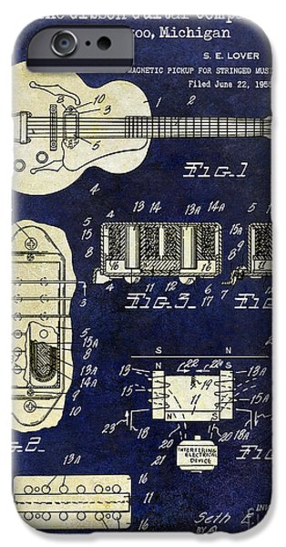 `les iPhone Cases - 1959 Gibson Guitar Patent Drawing Blue 2 Tone iPhone Case by Jon Neidert