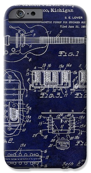 `les iPhone Cases - 1959 Gibson Guitar Patent Drawing Blue iPhone Case by Jon Neidert