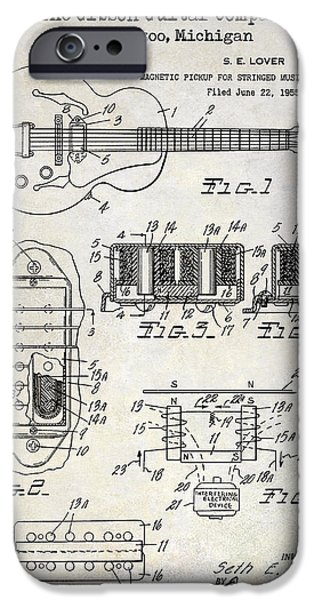 `les iPhone Cases - 1959 Gibson Guitar Patent Drawing iPhone Case by Jon Neidert