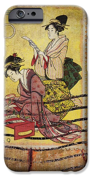 Carol Leigh iPhone Cases - 1959 Japanese Postcard Mail iPhone Case by Carol Leigh