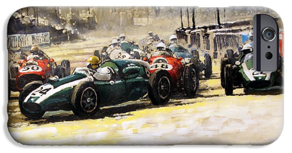 Classic Racing Car iPhone Cases - 1959 Monaco GP  #24 Cooper Climax T51 Jack Brabham Winner  iPhone Case by Yuriy Shevchuk