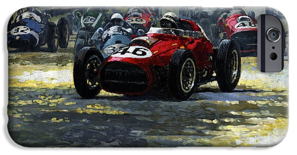 Racing iPhone Cases - 1959 Monaco GP  #46 Ferrari D246 Jean Behra iPhone Case by Yuriy Shevchuk