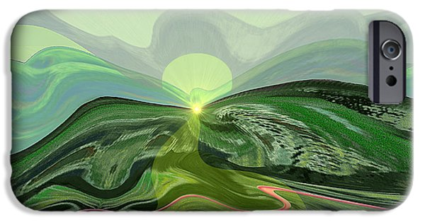 Surreal Landscape iPhone Cases - 196 - Mountain-Morning   iPhone Case by Irmgard Schoendorf Welch