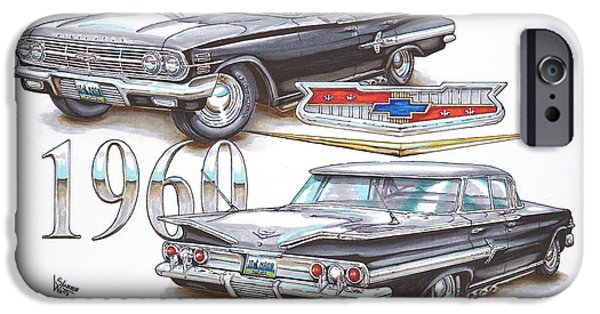 Chip Drawings iPhone Cases - 1960 Chevrolet Sports Sedan iPhone Case by Shannon Watts
