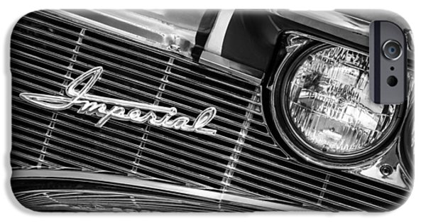 1960 iPhone Cases - 1960 Chrysler Imperial Grille Emblem -0269bw iPhone Case by Jill Reger