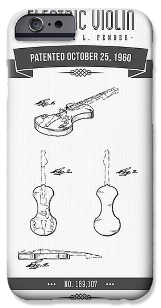 Violin iPhone Cases - 1960 Fender Electric Violin Patent Drawing iPhone Case by Aged Pixel