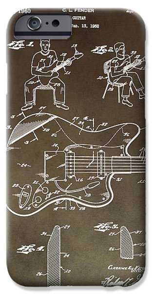 Fender Strat iPhone Cases - 1960 Fender Guitar Patent iPhone Case by Dan Sproul