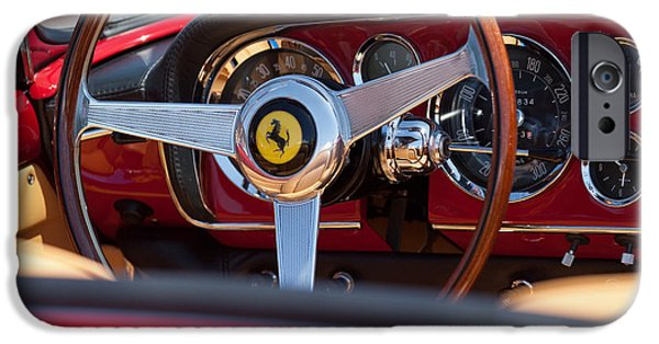 1960 iPhone Cases - 1960 Ferrari 250 GT Cabriolet Pininfarina Series II Steering Wheel Emblem iPhone Case by Jill Reger
