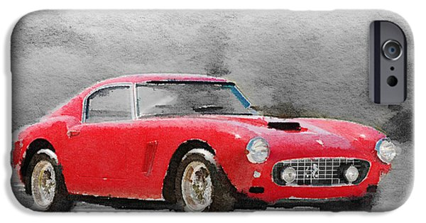 Old Cars iPhone Cases - 1960 Ferrari 250 GT SWB Watercolor iPhone Case by Naxart Studio