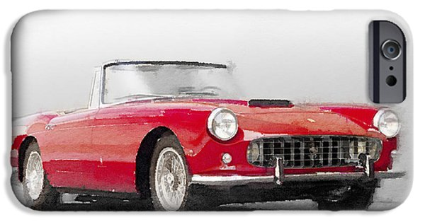 Old Cars iPhone Cases - 1960 Ferrari 250GT Pinifarina Watercolor iPhone Case by Naxart Studio