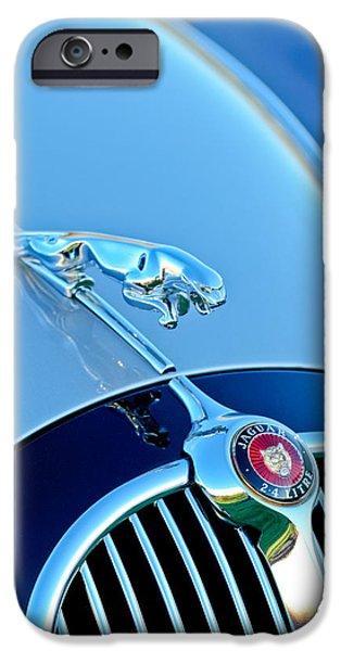 1960 iPhone Cases - 1960 Jaguar Mk II 2.4-liter Saloon Grille Emblem - Hood Ornament iPhone Case by Jill Reger