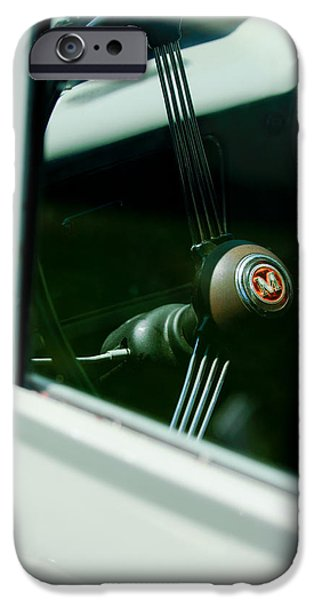 Delivery Truck iPhone Cases - 1960 Morris Minor Panel Delivery Truck Steering Wheel Emblem iPhone Case by Jill Reger