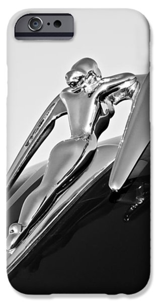 Ornament iPhone Cases - 1960 Nash Metropolitan -0854BW iPhone Case by Jill Reger