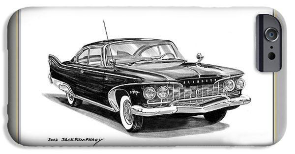 Fury Drawings iPhone Cases - 1960 Plymouth Fury iPhone Case by Jack Pumphrey