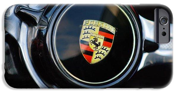 1960 iPhone Cases - 1960 Porsche 356 B Roadster Steering Wheel Emblem iPhone Case by Jill Reger