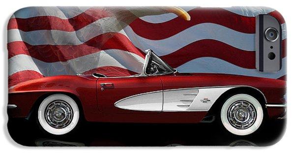 Best Sellers -  - Stripes iPhone Cases - 1961 Corvette Tribute iPhone Case by Peter Piatt