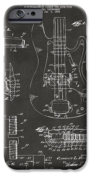 Cave Digital iPhone Cases - 1961 Fender Guitar Patent Artwork - Gray iPhone Case by Nikki Marie Smith