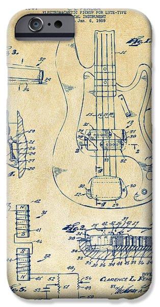 Guitarist Digital Art iPhone Cases - 1961 Fender Guitar Patent Artwork - Vintage iPhone Case by Nikki Marie Smith