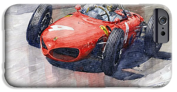 Ferrari Watercolor iPhone Cases - 1961 Germany GP Ferrari 156 Phil Hill iPhone Case by Yuriy Shevchuk