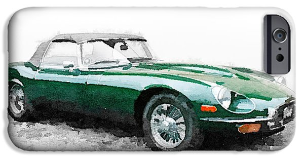Old Cars iPhone Cases - 1961 Jaguar E-Type Watercolor iPhone Case by Naxart Studio