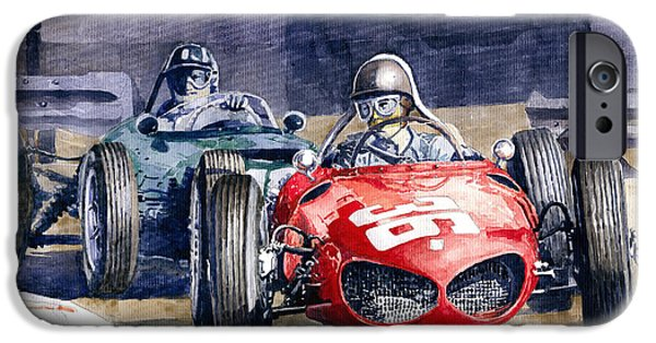 Ferrari Watercolor iPhone Cases - 1961 Monaco GP #36 Ferrari 156 Ginther  #18 BRM Climax P48 G Hill iPhone Case by Yuriy Shevchuk