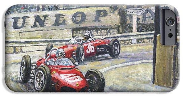 Racing iPhone Cases - 1961 Monaco GP Ferrari 156 #40 Trips #36 Ginther iPhone Case by Yuriy Shevchuk