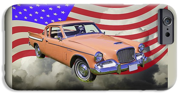 Red Tail Hawk Digital Art iPhone Cases - 1961 Studebaker Hawk With United States Flag iPhone Case by Keith Webber Jr
