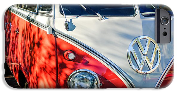 23 iPhone Cases - 1961 Volkswagen VW 23-Window DeLuxe Station Wagon Emblem iPhone Case by Jill Reger