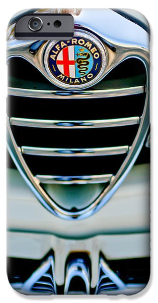 Sprint iPhone Cases - 1962 Alfa Romeo Giulietta Coupe Sprint Speciale Grille Emblem iPhone Case by Jill Reger