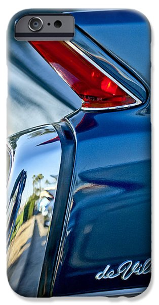 Vintage Car iPhone Cases - 1962 Cadillac Deville Taillight iPhone Case by Jill Reger