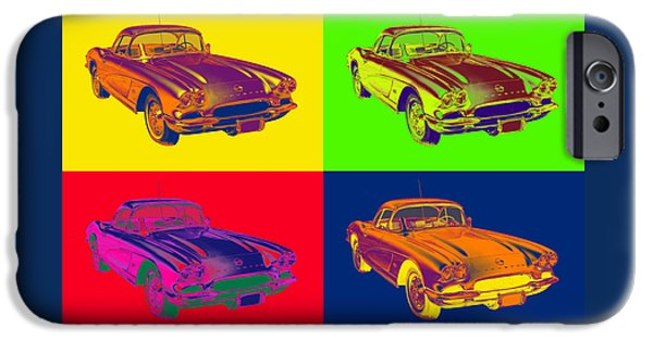 Warhol iPhone Cases - 1962 Chevrolet Corvette Pop Art iPhone Case by Keith Webber Jr