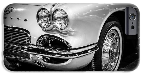 Old Photos iPhone Cases - 1962 Corvette Black and White Picture iPhone Case by Paul Velgos