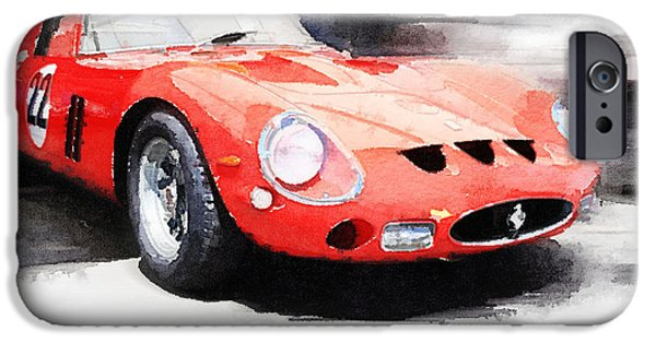 Ferrari Gto iPhone Cases - 1962 Ferrari 250 GTO Watercolor iPhone Case by Naxart Studio