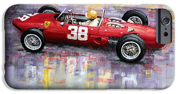 Racing iPhone Cases - 1962 Ricardo Rodriguez Ferrari 156 iPhone Case by Yuriy Shevchuk