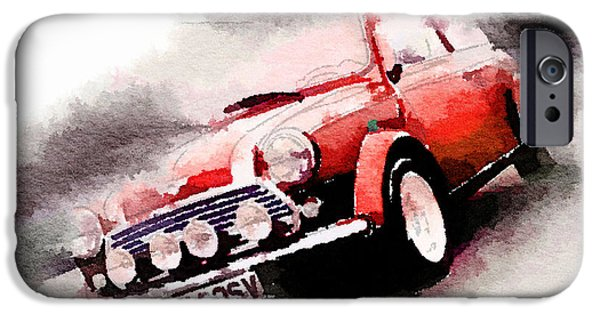 Classic Car Paintings iPhone Cases - 1963 Austin Mini Cooper Watercolor iPhone Case by Naxart Studio