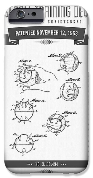 Baseball Glove iPhone Cases - 1963 Baseball Training Device Patent Drawing iPhone Case by Aged Pixel