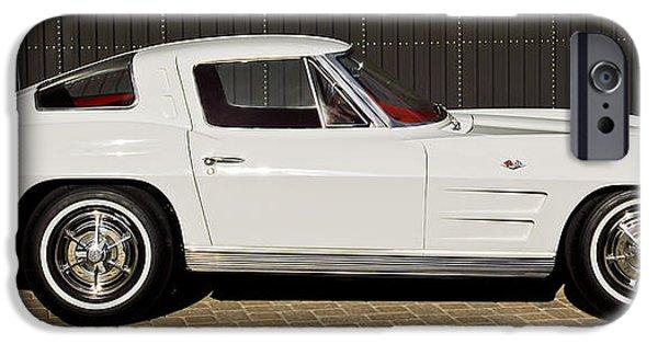 Split iPhone Cases - 1963 Chevrolet Corvette Split Window -575c iPhone Case by Jill Reger