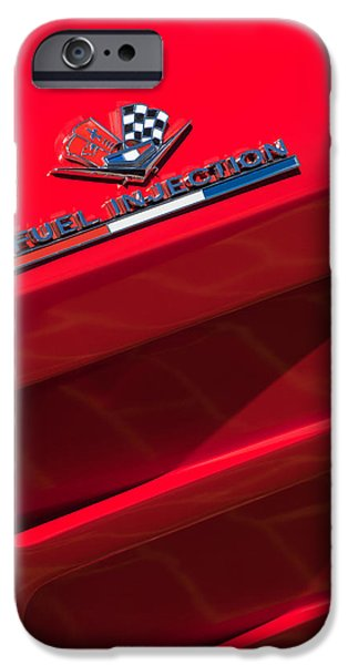 Sting Ray iPhone Cases - 1963 Chevrolet Corvette Sting Ray Split-Window Race Car Fuel Injection Emblem iPhone Case by Jill Reger