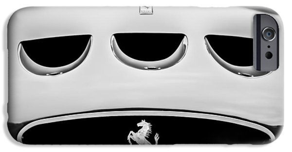 Ferrari 250 Gto iPhone Cases - 1963 Ferrari 250 Gto Grille Emblem -1753bw iPhone Case by Jill Reger