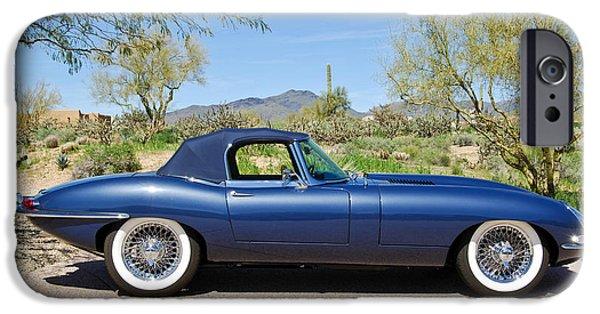 Automotive iPhone Cases - 1963 Jaguar XKE Roadster iPhone Case by Jill Reger