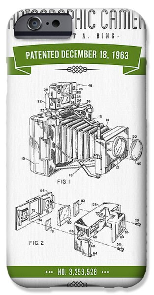 Antiques iPhone Cases - 1963 Photographic Camera Patent Drawing - Retro Green iPhone Case by Aged Pixel