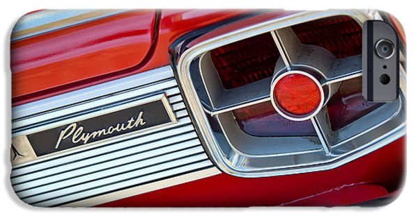 Fury iPhone Cases - 1963 Plymouth Fury Taillight Emblem -3321c iPhone Case by Jill Reger