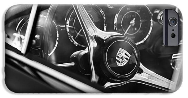 Steering iPhone Cases - 1963 Porsche 356 B 1600 Coupe Steering Wheel Emblem iPhone Case by Jill Reger