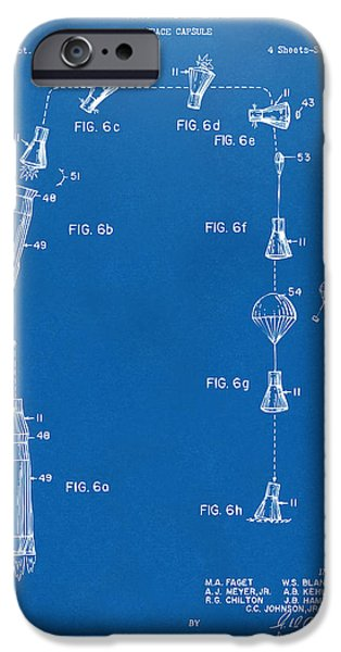 Space-craft iPhone Cases - 1963 Space Capsule Patent Blueprint iPhone Case by Nikki Marie Smith