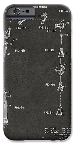 Space-craft iPhone Cases - 1963 Space Capsule Patent Gray iPhone Case by Nikki Marie Smith