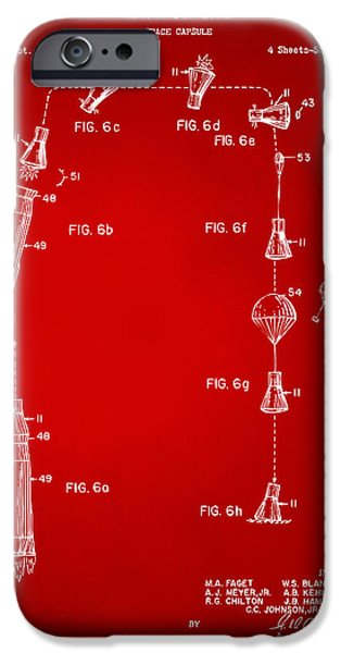 Space-craft iPhone Cases - 1963 Space Capsule Patent Red iPhone Case by Nikki Marie Smith