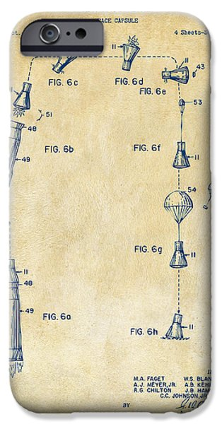 Space-craft iPhone Cases - 1963 Space Capsule Patent Vintage iPhone Case by Nikki Marie Smith