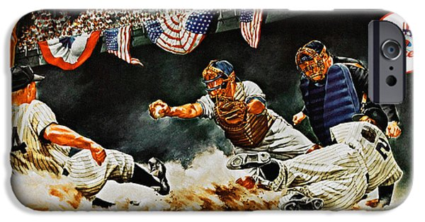Baseball Stadiums Paintings iPhone Cases - 1963 World Series Yankees vs Dodgers Program iPhone Case by Big 88 Artworks
